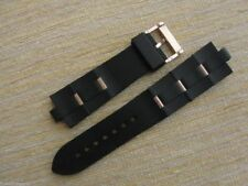 Black Rubber Watch Band Strap W/Rose Gold Clasp-Links FIT/BVLG Diagono 24mmX8mm