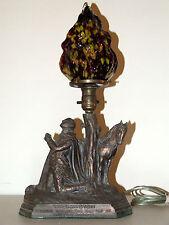 1920's Deco Figural George Washington Lamp with Art Glass Splatter Flame Shade