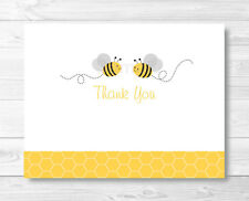 Yellow & Grey Bumble Bee Gender Neutral Thank You Card Printable