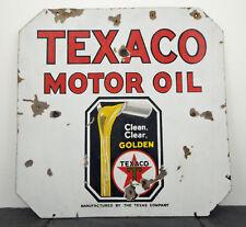 "Early c.1930 Texaco Motor Oil HTF Heavy Porcelain 2-Sided Sign 30"" x 30"""