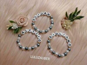 Babyarmband mit Namen und Perlen / personalisiert