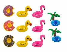 11 Pack Inflatable Cup Holder Pool Toy New Ducks,Donuts,Pink Flamingo and Trees