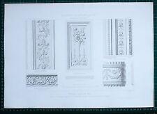 1880 FRENCH Architecture imprimé style Louis XVI salon détails Maison de Champagne