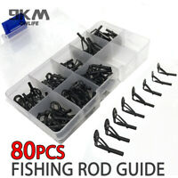 80Pcs Fishing Rod Parts Tip Top Repair Guides Sea Fishing Casting Repair Kit Rod
