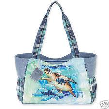 Guy Harvey Blue Fish & Turtle Swiming Canvas Medium Tote Bag Resort Vacation New