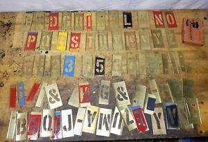 "Vintage Reese's 3"" Gothic Reusable Interlocking Brass Stencil Set letter number"