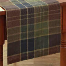 "FRONTIER 36""L Woven Table Runner by Park Desgins  Brown, Green, Black, Tan Plaid"