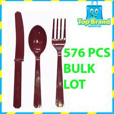 576 X PLASTIC CUTLERY BURGUNDY KNIFE - FOLK - SPOON ASST. BULK BUY CHEAP PARTY