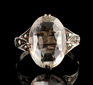 Vintage Art Deco Rock crystal and Marcasite ring, sterling silver, c1920s