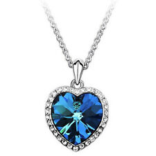 Ocean Heart Pendant Necklace Women Crystal Rhinestone Jewelry Accessory Gift BR