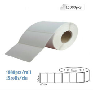 White Blank Thermal Transfer Labels Rolls Stickers 90 x 47mm