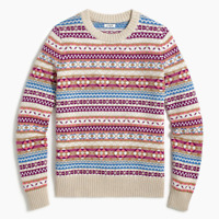 J Crew Factory All Over Fair Isle Pullover Sweater Striped Nordic Size XS Pink