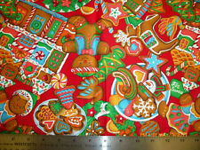Gingerbread Christmas Fabric, red background, Sold by the Yard