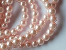 100 PINK GLASS FAUX PEARL BEADS CRAFTS -JEWELLERY MAKING 6MM