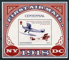 Montserrat 2018 MNH 1st Airmail Cent Curtiss Jenny 4v M/S Aviation Stamps