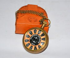 """Antique vintage pocket watch 2"""" brass handmade decorative with leather box"""