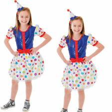 Rainbow Clown Girls Costumes Childs Circus Fancy Dress Kids Book Week Day Outfit