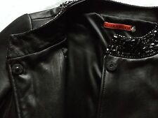 Alice + Olivia Black Leather Embellished Beaded Cropped Box Jacket Coat M Medium
