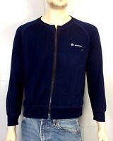 vtg 80s Dunlop INDIE Navy Blue Soft Thin Full Zip Sweatshirt Track Jacket sz L