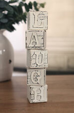 Laugh Blocks Home Decor Gift French Script Provincial Antiqued BRAND NEW