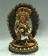"7"" China Tibet Buddhism Temple Bronze Gilt Gold Black Jambhala Buddha Statue"