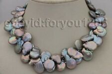 "Coin Pearl Necklace 14k #f1918! 18"" Double Genuine Natural 21mm Gray"