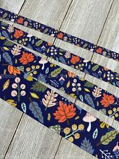Printed Grosgrain Ribbon 4 Widths 1/3/5 Colorful Fall Leaves Foliage on Navy