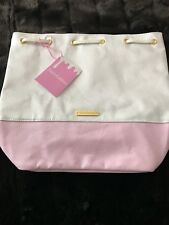 Juicy Couture Women's Pink & White Cotton Canvas mini cute Backpack bag purse