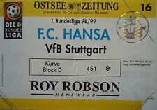 TICKET 1998/99 FC Hansa Rostock - VfB Stuttgart