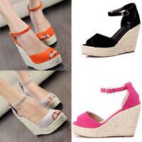 2020 New Women Wedge High Heel Sandals Peep Toe Espadrilles Platform Party Shoes