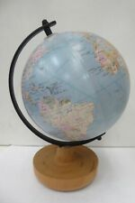WORLD GLOBE MAP ATLAS ON WOODEN AND METAL STAND