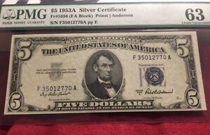 FR. 1656 $5 1953A Silver Certificate FA Block Choice PMG 63