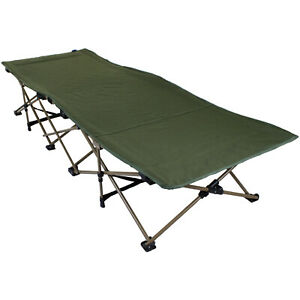 HEAVY DUTY OUTDOOR CAMPING BED PORTABLE FOLDING SCISSOR FRAME MILITARY GREEN NEW