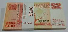 Singapore $2 Orange Ship Banknote Stack Of 100 pcs Rn BH545901~6000 UNC