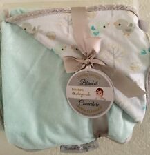 Blankets and Beyond Baby Boy/girl Cotton Blend Plush Birds Mint Gray Blanket