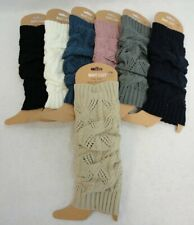 Ladies LEG WARMER Knitted Stretch SOLID COLOR Soft Winter Socks