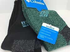 Women's COLUMBIA Thick Green Black 23% COTTON Crew Socks - 2 Pack - MSRP $24