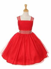Red Flower Girl Shiny Tulle Dress Wedding Birthday Bridesmaid Graduation Party
