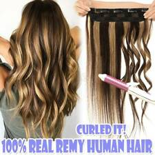 One Piece Remy Clip in 100% Real Human Hair Extensions 3/4 Full Head Wefts Thick
