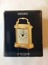 New Seiko - Small Gold-Tone Carriage Alarm Clock Qhe109Glh