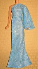 VINTAGE BARBIE CLONE LONG BABY BLUE  METALLIC DRESS GOWN MINT!
