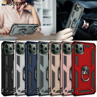 For iPhone 12 mini 11 Pro X XS Max XR Shockproof Armor Ring Holder Case Cover