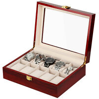 10-Grid Watch Display & Storage Case- Wooden Jewelry Box