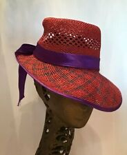 Vintage Straw Hat  Sunhat Red Purple Ribbon Adjustable Viser