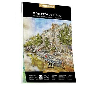 Watercolour Paper Pad A4 *30 Sheets 230GSM for Watercolour Painting PENCILMARCH