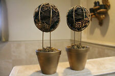 (2) Gold-tone Metal POTPOURRI TOPIARIES in Gold-tone Clay Pots