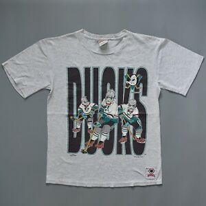 vintage Mighty Ducks NHL Nutmeg T Shirt Large Sz cotton yellow stained