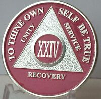Pink & Silver Plated 24 Year AA Chip Alcoholics Anonymous Medallion Coin XXIV