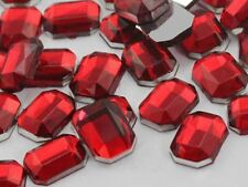 8x6mm Red Ruby H103 Flat Back Octagon Acrylic Gemstones - 100 PCS