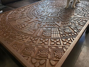 aztec mayan calendar authentic oak wood coffe table luxury unique carved decor